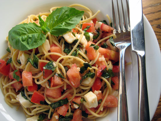 Summer Spaghetti Caprese Style