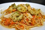 spaghetti w peppers shrimp