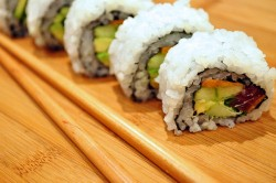 sushi with tuna vegetables