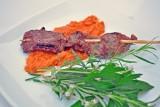 beef skewers w romesco sauce