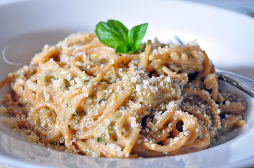 spaghetti w cream of zucchini sauce