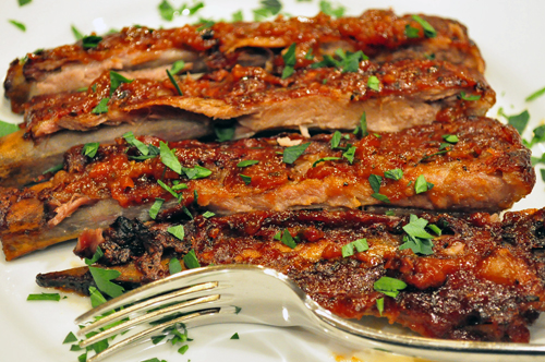 peach bbq pork spareribs