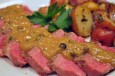 steak w green peppercorn sauce