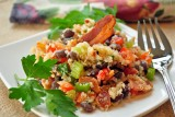 quinoa and black bean salad w bacon
