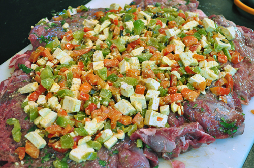 leg of lamb with stuffing of cheese and peppers