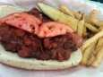 mustard's chili dog with a taste of fries