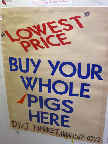 hog sign at the butcher in the sweet auburn curb market in atlanta