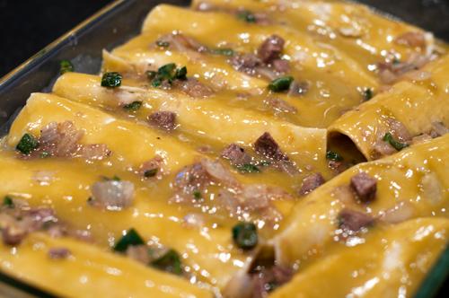 beef and poblano enchiladas