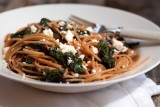 spaghetti with beet greens garlic and feta cheese