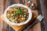 corn and farro salad with basil