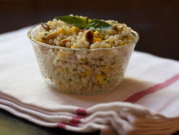 pasta salad with corn basil and pine nuts