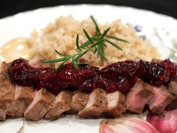 pork chops with balsamic plum coulis