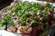grass fed beef brisket with mushroom sauce and parsley