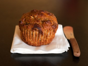 squash muffins with dried cranberries and almonds