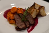 duck breasts w red beet sauce roasted potatoes and carrots