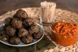 pork meatballs with romesco sauce