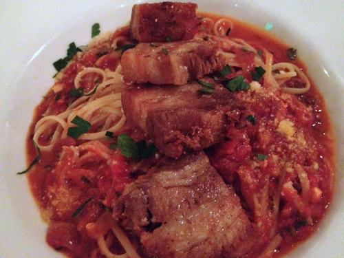 the wooden table linguine amatriciana with pork belly