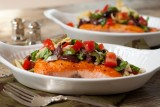 salmon with artichoke, tomato and olive tapenade