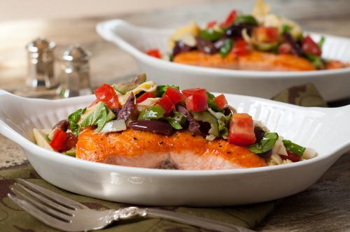 salmon with artichoke, tomato and olive tapenade
