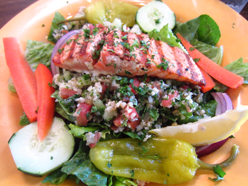 bay leaf cafe spearfish salmon and tabbouleh