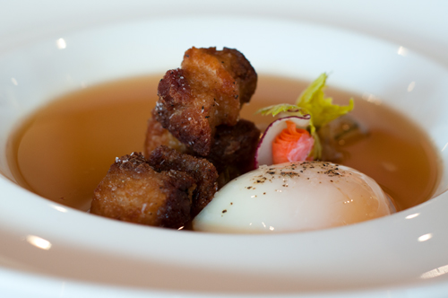 opus kimchees broth with pork pelly and egg