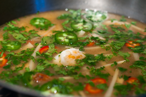 shrimp soup simmering