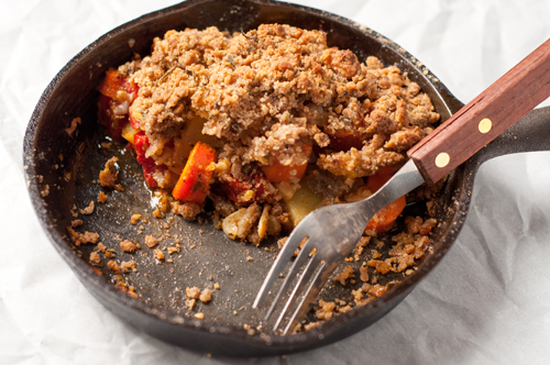 vegetable crumble half eaten