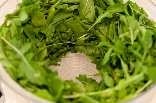arugula washed and spun