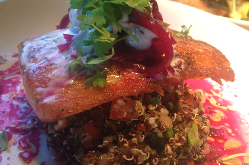 root down denver salmon with beets and fennel