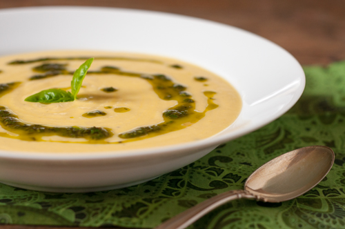 corn soup with basil oil 1