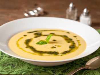 corn soup with basil oil
