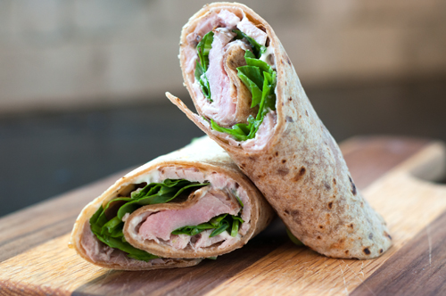 pork tenderloin and arugula wrap