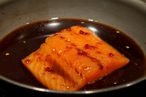 salmon with honey soy glaze uncooked