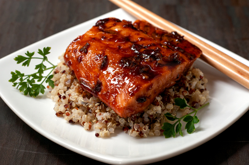 salmon with soy honey chili glaze 2