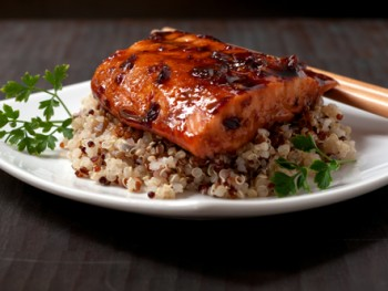 salmon with soy honey chili glaze