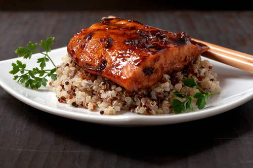 salmon with soy honey chili glaze