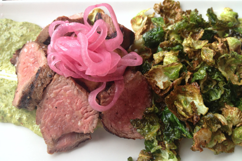 linger denver beef on chimichurri with fried brussels sprouts and pickled onions