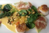 linger denver scallops with melon and house made salumi
