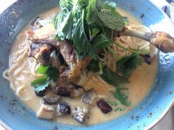 acorn denver restaurant duck confit tom yum noodle bowl