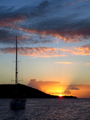 10 st martin sunset sailboat
