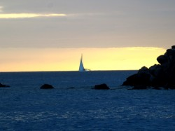 5 st barths sailboat at dusk