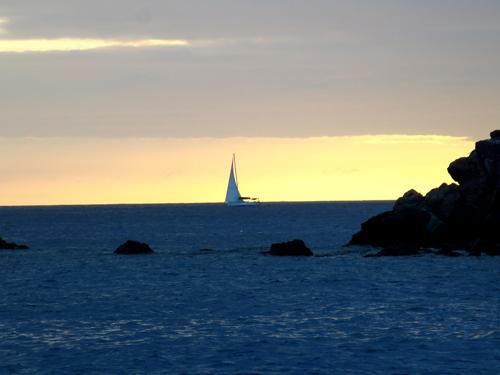 5 st barths sailboat at dusk