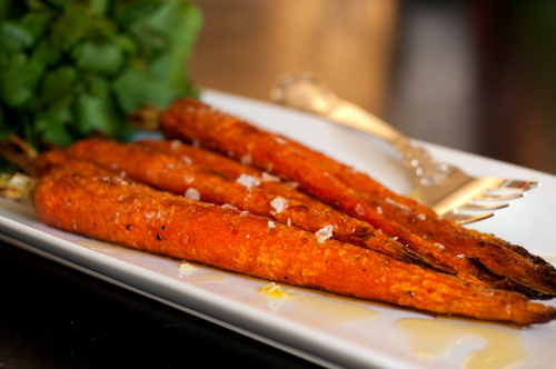 carrots roasted w evoo and sea salt fork
