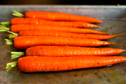 carrots roasting unroasted