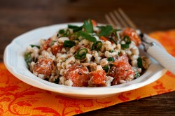 farro with roasted carrots and caraway seeds