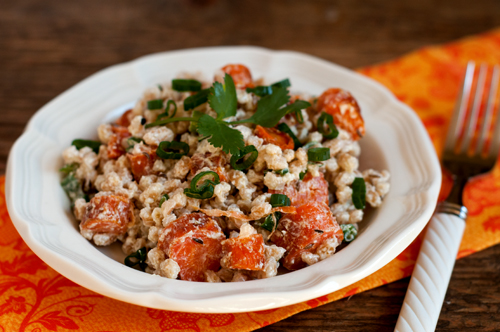 farro with roasted carrots and caraway