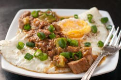 green chile smothered eggs