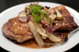 pork blade steak with roasted fennel and onions