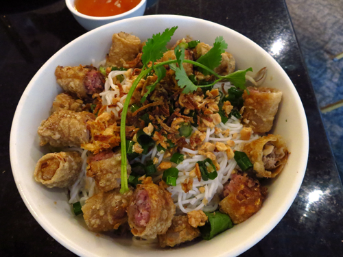 new saigon rice bowl eggrolls