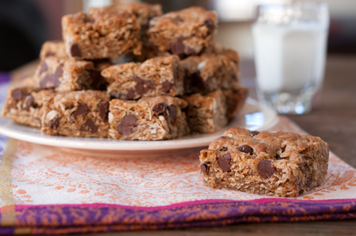 oatmeal cookie bars with coconut and chocolate